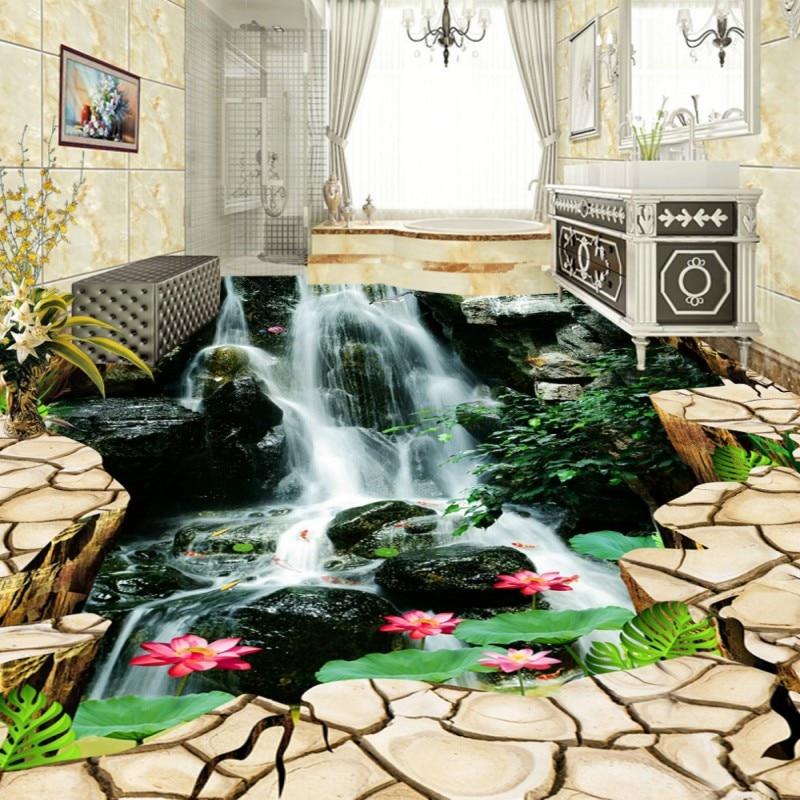 Free Shipping 3D stereo custom Fissures Waterfalls Lotus Carp Floor Tiles bedroom living room fashion floor mural wallpaper