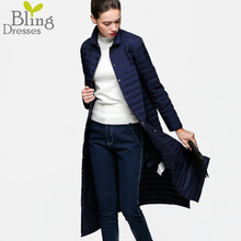 2016 Snow Winter Jacket Women Fashion 90 % White Duck Down Coat Slim Fit Thin Long Knee Solid Single Breasted Jacket Trench Coat