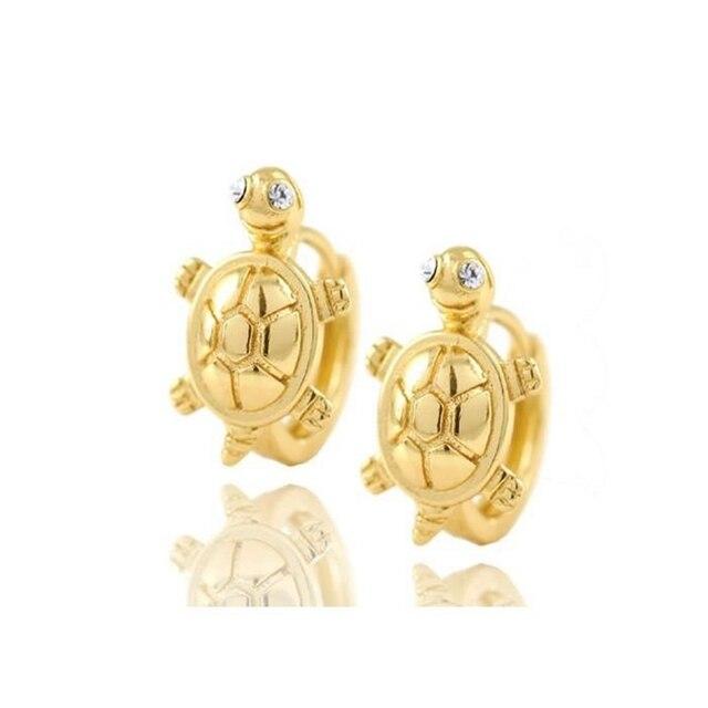 Lovely Animal turtle Earrings  Yellow Gold Filled Children Hoop Earrings