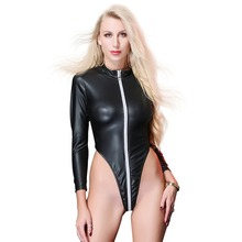 2019 New Sexy Women Long Sleeves Bodysuit Mock Neck Bodycon Slim Fitted Zip Up Jumpsuit High Cut Bodysuit Club Pole Dance Wear v cut textured slim fitted tee