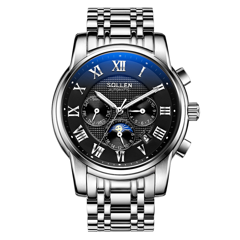 SOLLEN Mens Watches Top Brand Luxury Full Steel Automatic Mechanical Men Watch Classic Male Clocks High Quality Watch vinoce mens watches top brand luxury high quality full steel quartz watch classic men fashion male clocks relogios masculino