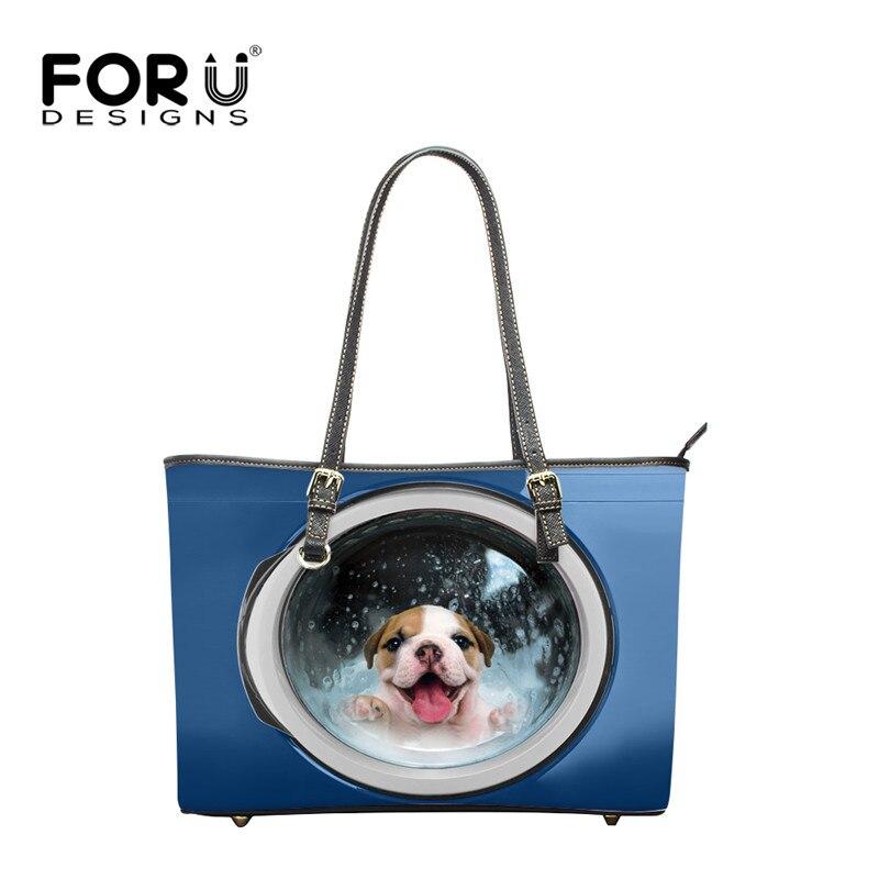 FORUDESIGNS mignon chien imprimer femmes sacs à bandoulière bleu, marques célèbres dames PU cuir sacs à main 2017, grande femme fourre-tout sac de plage