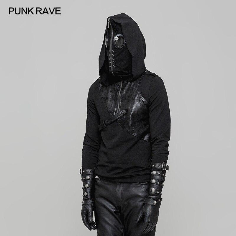 Мужские толстовки в стиле Панк Rave, куртки и пальто, Модный пуловер в стиле панк, Черная мужская повседневная куртка с капюшоном в стиле хип хоп, уличная одежда - 2