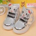 2016 LED luz botas de los niños de 1 a 5 años de edad niños zapatilla de deporte de niño recién nacido del bebé zapatos ocasionales del deporte de dibujos animados zapatos