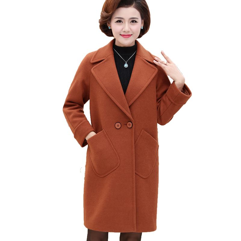 2018 Middle Age Women New Elegant Long Wool Coat Female Loose Big Pockets Plus Size 4XL Woolen Jackets Mother Blends Clothes A85