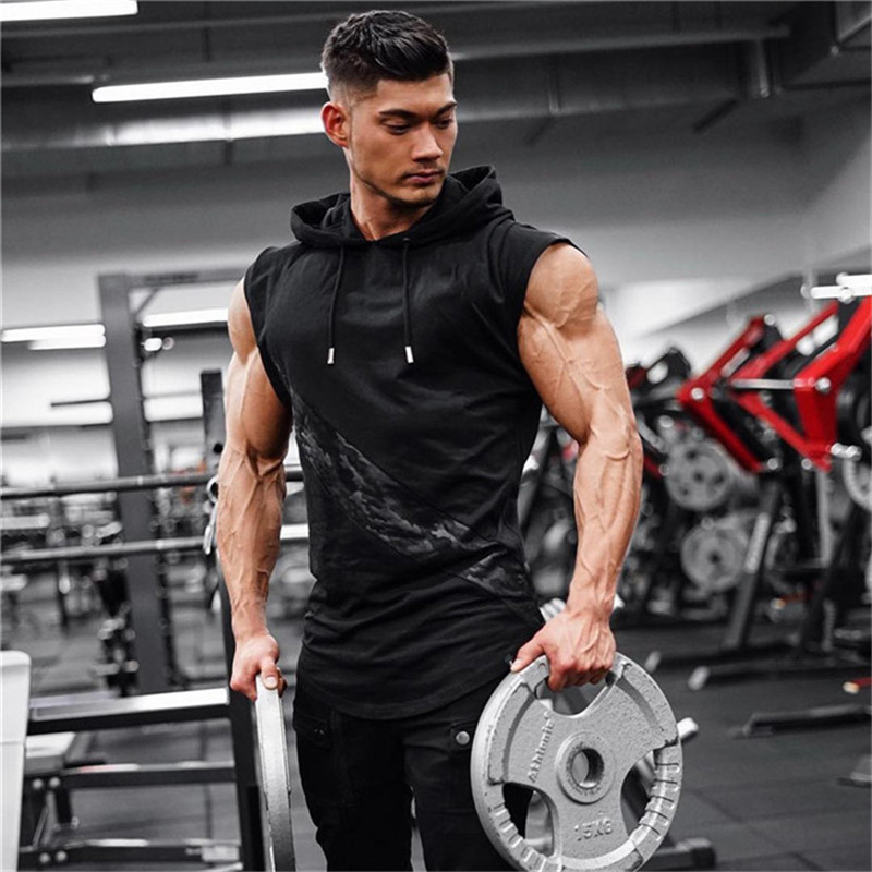 GYMPXINRAN männer Fit Sleeveless <font><b>Hoodie</b></font> Bodybuilding Fitness-Studios <font><b>Tank</b></font> <font><b>Tops</b></font> Crossfits Training Ärmel Jacken Terry <font><b>Top</b></font> Männlichen image