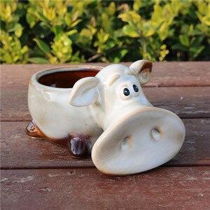 Śmieszne porcelany Piggy statua kwiat garnek ceramiki wazon dekoracyjne domu blat sadzarka Bonsai świnia Craft Ornament akcesoria akcesoria