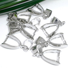 100Pcs Silver Tone Pinch Bail Beads For Necklace Pendants Charm Jewelry Findings 9x21mm