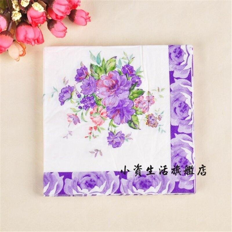 Retro Design Napkin Paper Tissue Color Printed Fl Blue Purple Decoupage Wedding Party Festive Decorative Mat Handkerchief In Disposable Tableware