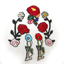 Red Flowers Handmade Iron On Patches