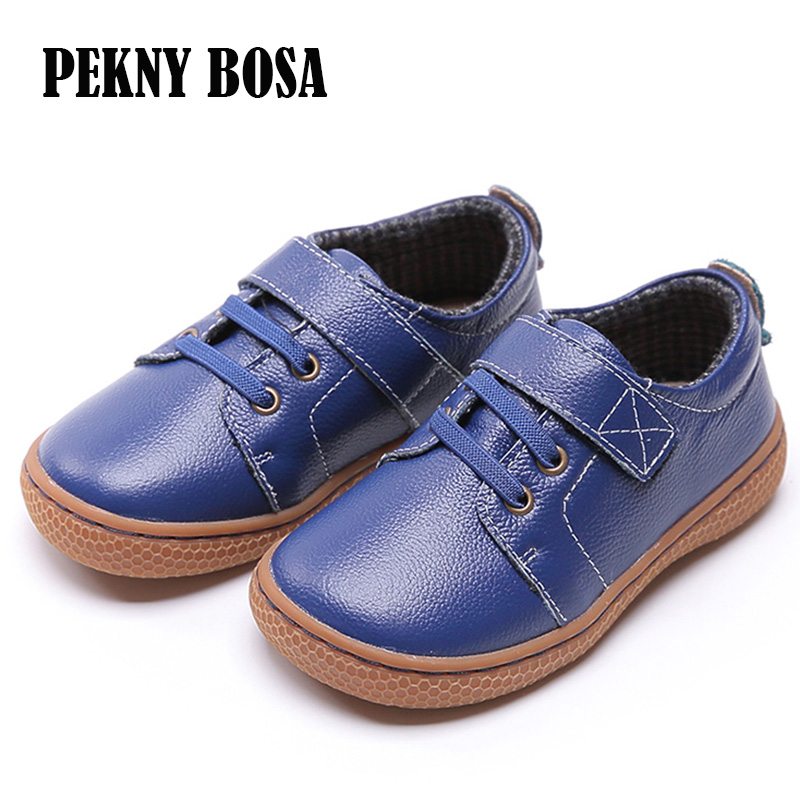 PEKNY BOSA Brand kids leather shoes Children barefoot shoes soft sole boys Genuine Leather shoes girls sneakers brown blue color