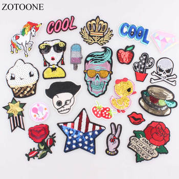 ZOTOONE DIY Unicorn Flower Patch Cool Kids Iron on Cartoon Patches for Clothes Stickers Cheap Embroidered Patch Food Applique B image