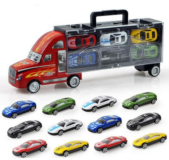 cool portable container truck with 12 alloy cars diecast toys vehicles best birthday gift for kids boys childrens