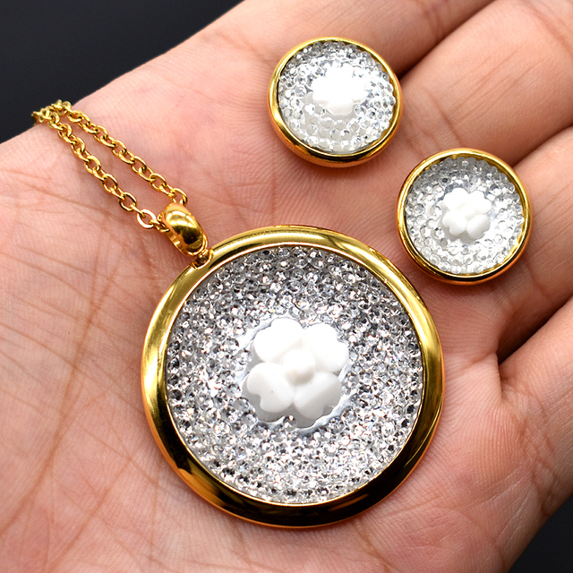 AMUMIU White/Black Colorful Round Jewellery Sets For Womens Korean Flower Ladies Necklace Earrings 2018 HTZ003