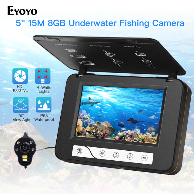 "Cheap Eyoyo EF15R 5"" 15M DVR Underwater Ice Fishing Camera HD 1000TVL IP68 waterproof 130 Wide Angle Underwater Fish Finder Camera"