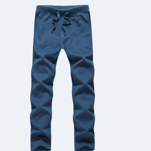 Image 2 - Men pants 2020 autumn and spring casual loose plus size straight knitted cotton male long trousers black blue gray