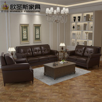 2016 Последние диван дизайн гостиной один местный диван стулья простой американский стиль ногтей Честерфилд коричневый кожаный диван setF77A
