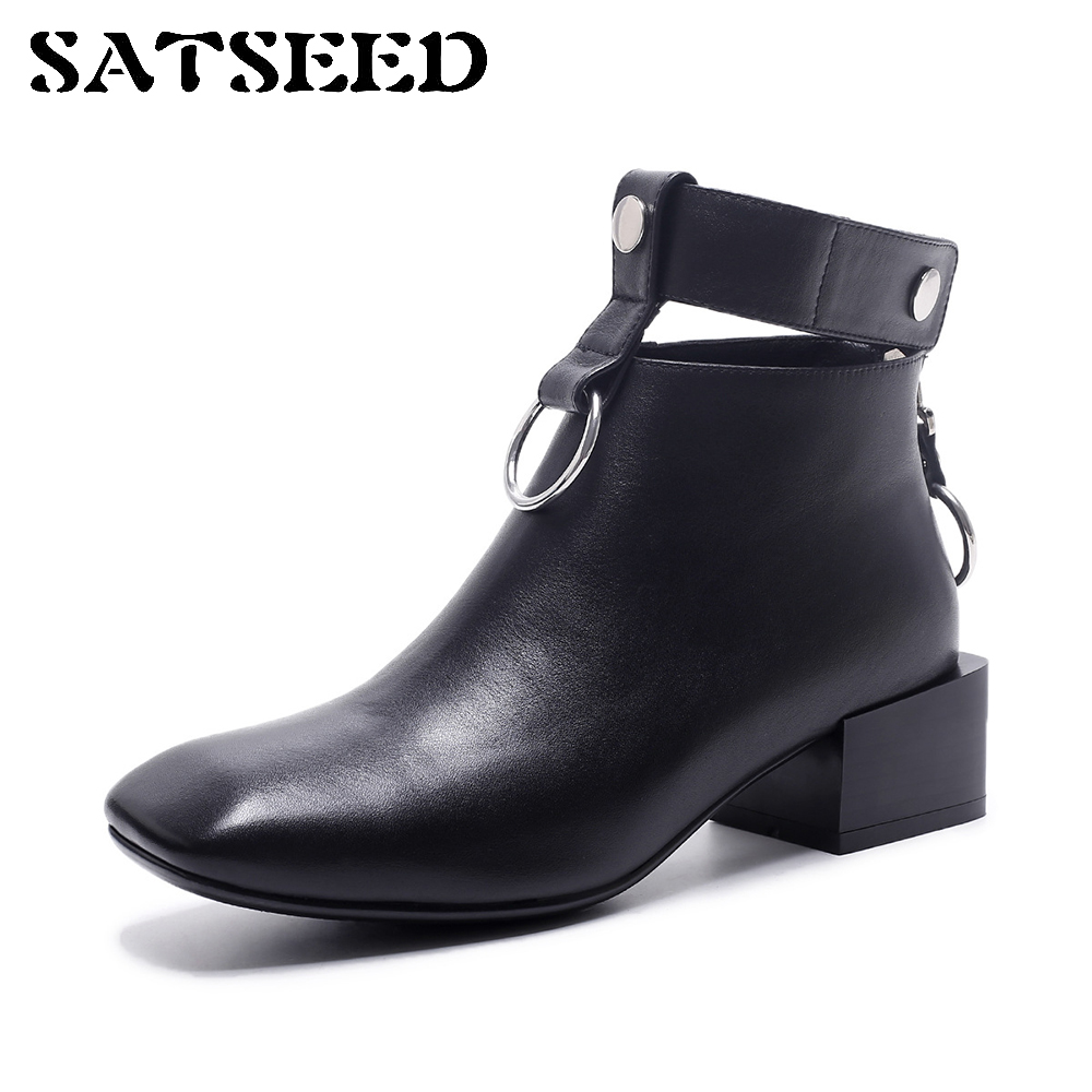 Europe 2017 New Winter Boots Square Toe Thick Square Martin British Style Belt Buckle Genuine Leather Boots Fashion цена 2017
