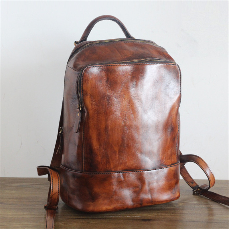 PNDME high quality vintage simple genuine leather ladies backpack large capacity first layer cowhide women 39 s travel schoolbag in Backpacks from Luggage amp Bags