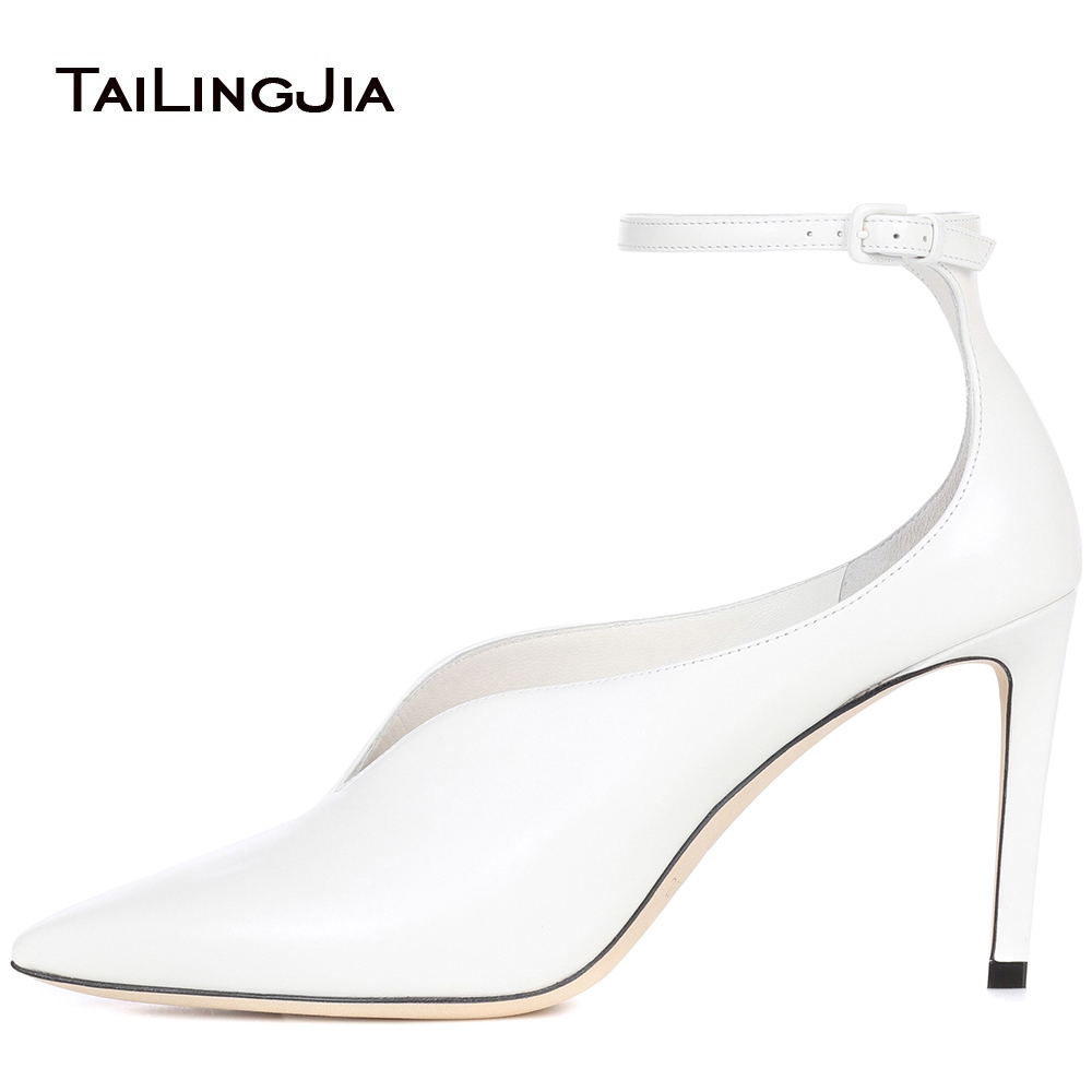 Popular New Women Pumps Fashion Pointed Toe Lady Shoes White Black Thin High Heels Dress Buckle Strap Party Wedding