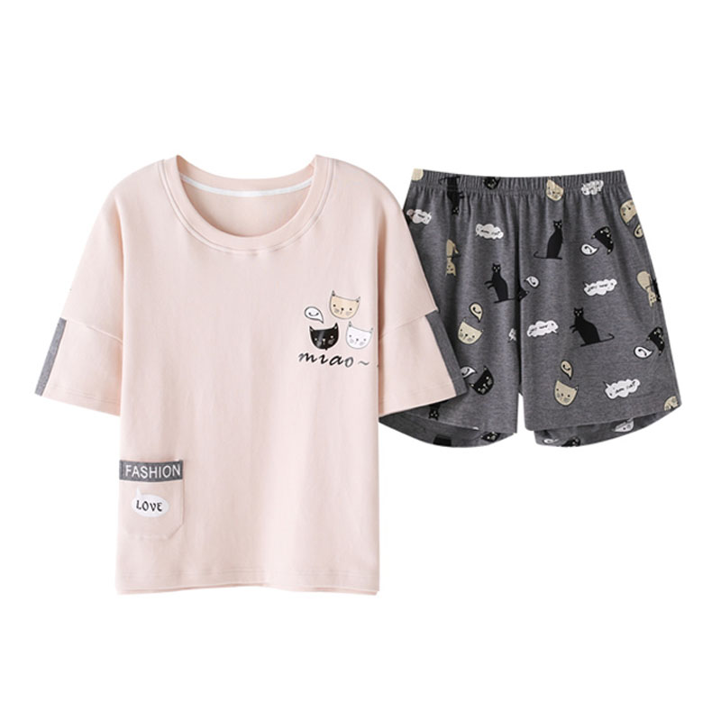 Women Cotton Pyjamas 26COLORS Girl Summer Sleepwear Set Short Pants + T shirt Tops Pajamas sets nightwear plus size M-XXL