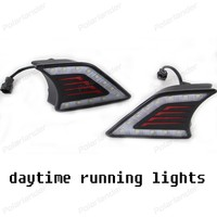 2ピース/セットカーアクセサリー6000 k 12ボルトledフォグランプカバーデイタイムランニングライト� /oyota v/igo 2012-2015