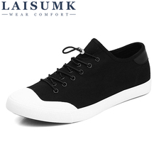 купить 2019 LAISUMK Canvas Shoes Men Casual Sneakers Breathable Wear-resistant Shoes Comfortable Round Toe Lace-up Flat Shoes дешево