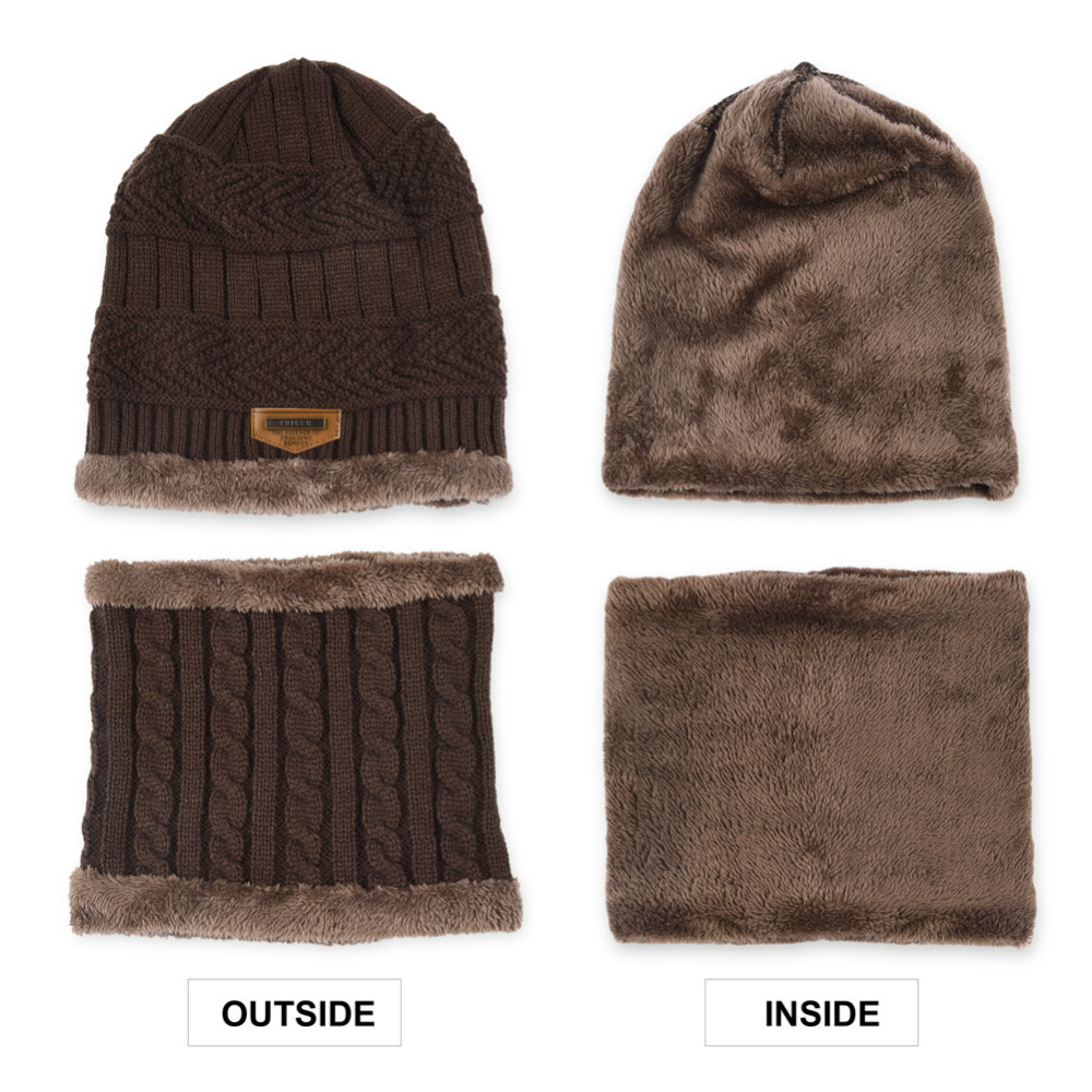 VBIGER 2pcs Men Women Winter Warm Knitted Hat Beanie Set Thicken Solf Fleece  Lining Hat Cap with Circle Scarf Outdoor Hat -in Skullies   Beanies from ... 5a6ed976119