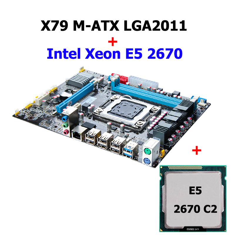 DIY PC assembly brand HUANAN ZHI X79 motherboard discount motherboard with CPU Intel Xeon <font><b>E5</b></font> <font><b>2670</b></font> <font><b>C2</b></font> USB3.0 SATA3.0 quality A+++ image