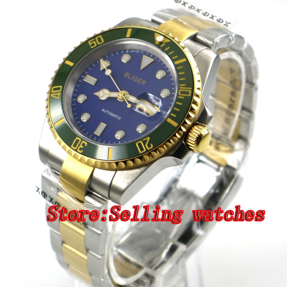 лучшая цена 40mm bliger blue dial ceramic bezel golden plated Men's miyota Sapphire glass Automatic movement Watch