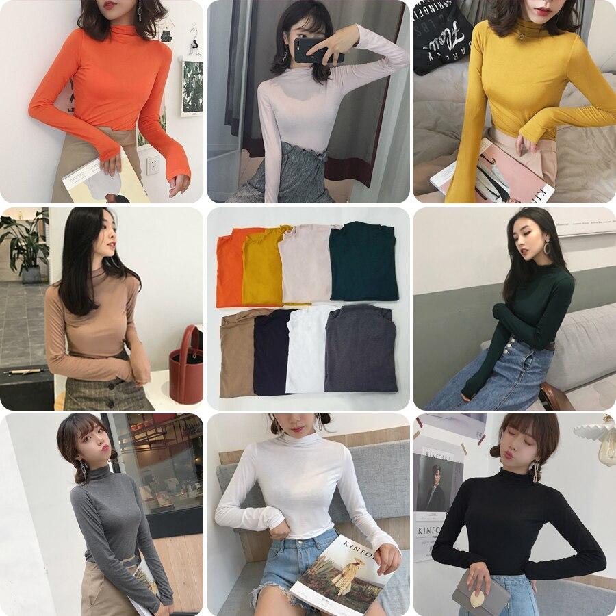 2017 Herbst Winter Frauen Rollkragen Langarm T-shirts Mädchen Solide Dünne Grundunterhemden T-stücke T Shirts Tops Vertrieb Von QualitäTssicherung