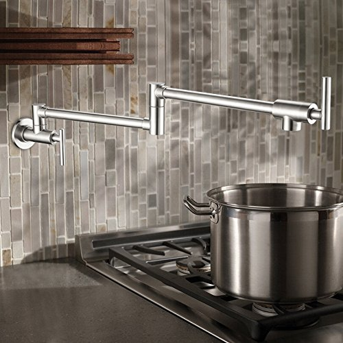 Wall Mounted Brass single cold Pot Filler faucet tap  Double Joint Spout chrome Wall Mounted Kitchen Faucet chrome finish brass kitchen faucet with flexible spout wall mount