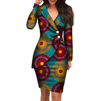 African Clothes for Women 2019 Office Style African Bazin Dashiki African Long Sleeve Midi Dress African Prints Dresses