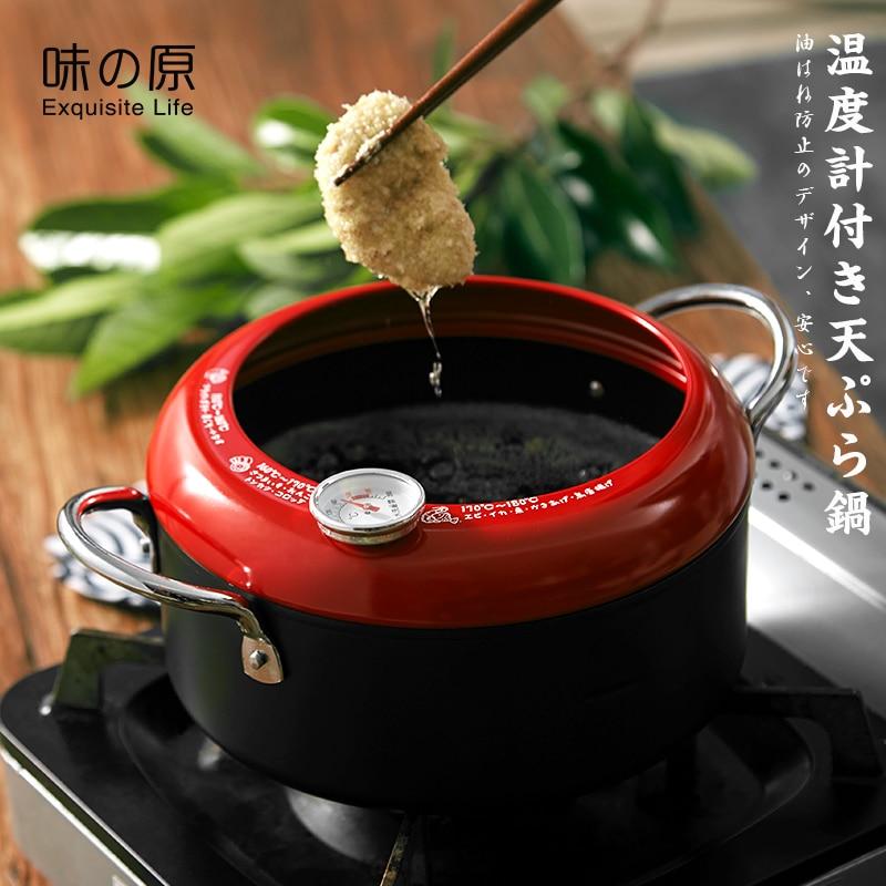 Japonais tempura poêle deux oreilles petit contrôle visuel de la température mini fer friteuse profonde friteuse poêle non-revêtement poêle