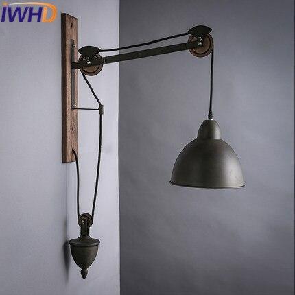 Iwhd Fer Poulie Ascenseur Applique Loft Industriel Vintage Applique