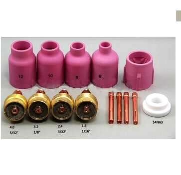 free shipping gsg Large Diameter Alumina Nozzle Gas Lens Collet Bodies Fit TIG Welding Torch PTA DB SR WP 17 18 26 Series,14PK 150a wp 17 wp 17 tig torch complete package 4m 12feet pta db 17 with m16x1 5mm connection