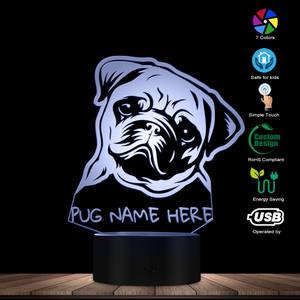 Image 3 - Nome personalizzato Pug Ritratto HA CONDOTTO LA Luce di Notte Pug Dog 3D LED Illusion Kid Camera Lampada Da Tavolo Con Cambiamenti di Colore Del Cane gli amanti del Regalo Memoriale