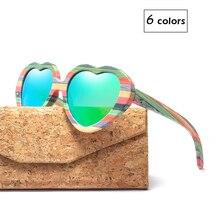 Moda coração óculos de sol marca designer 2018 feminino madeira bambu óculos de sol dos homens polarizado rosa sombra