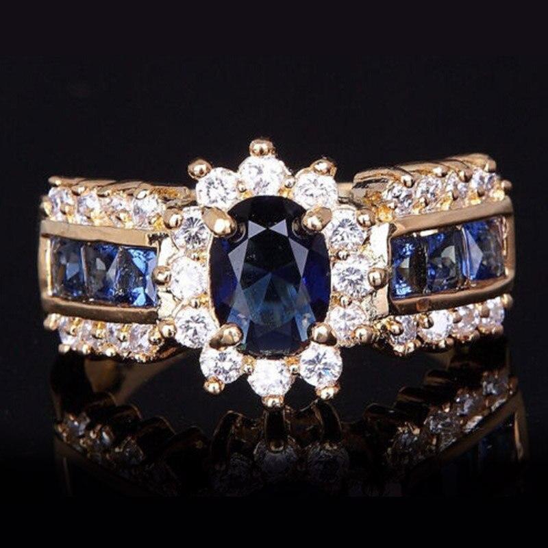 Новые Классические womne Обручение кольцо синий циркон Любители Promise Ring Для женщин Размер: для детей от 6 до 12 лет Юбилей Свадебные Кольца