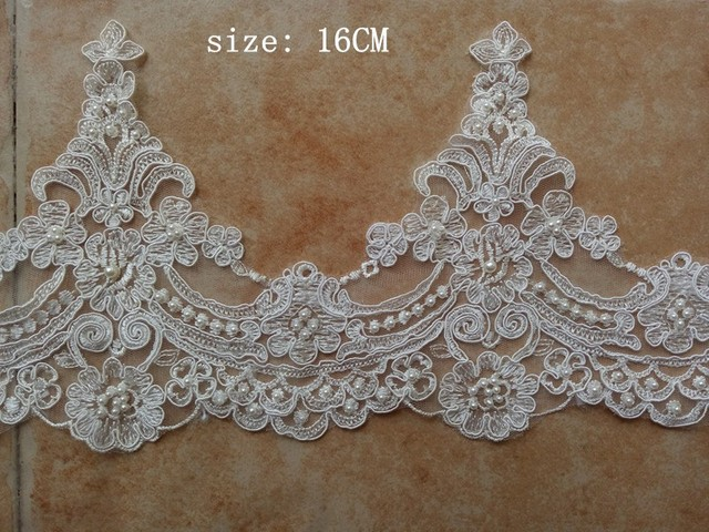 free shipping 2018 new fashion handwork ivory beading pearl lace