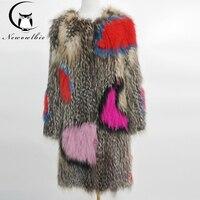Классический стиль енота мех тканая куртка сшивание цвет Настоящий Лисий мех пальто Дамская Шуба 100% мех енота