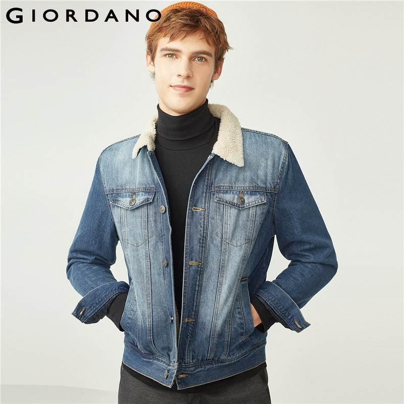 Giordano męska kurtka dżinsowa zagęszczony lekceważyć podszewka Denim kurtki mężczyzn utrzymać ciepłe skręcić w dół kołnierz przycisk mankiety Jaqueta Masculina w Kurtki od Odzież męska na AliExpress - 11.11_Double 11Singles' Day 1