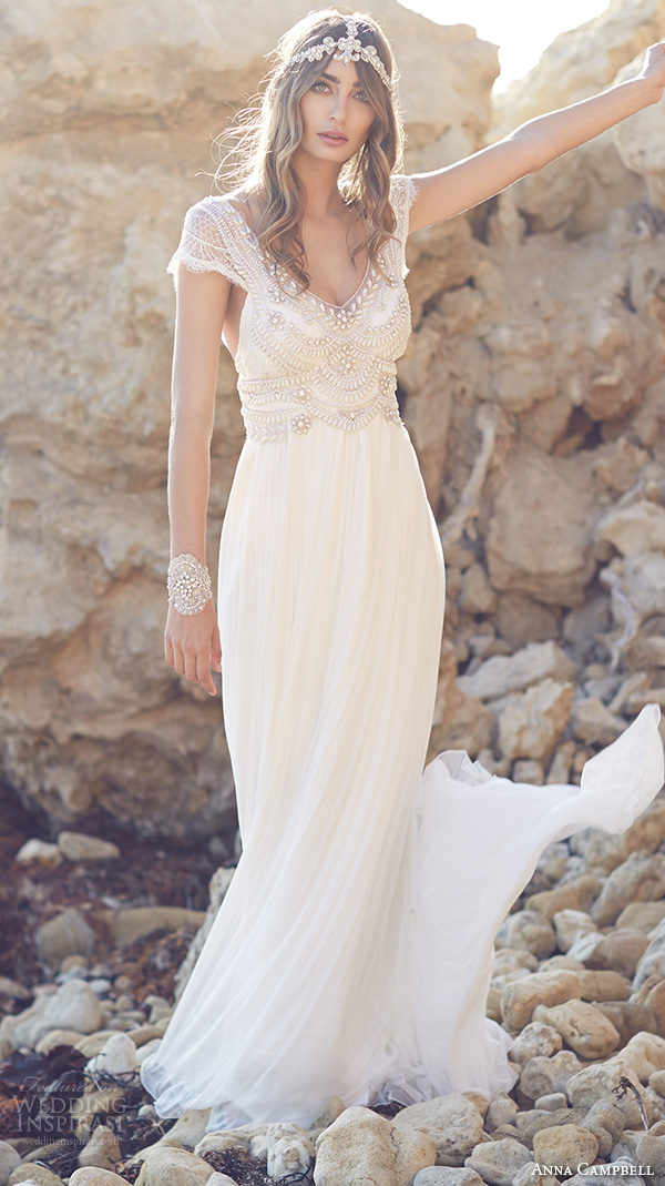 Sexy Illusion Bohemian V Neck A Line Chiffon Heavy Beaded