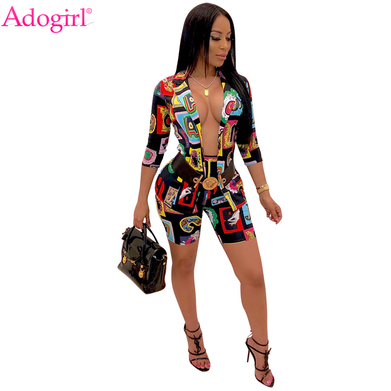 Adogirl Fashion Letters Print Women Two Piece Set Casual Business Suit 3/4 Sleeve Coat Shorts Summer Female Clothing Outfits