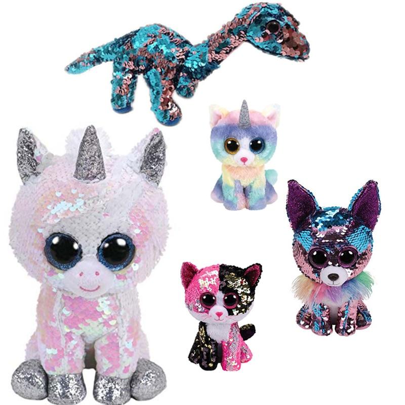 "Ty Beanie Boos 6"" 15cm Flippables Diamond White Sequin Unicorn Dragon Fox Flamingo Owl Stuffed Animal Collection Doll Toy"