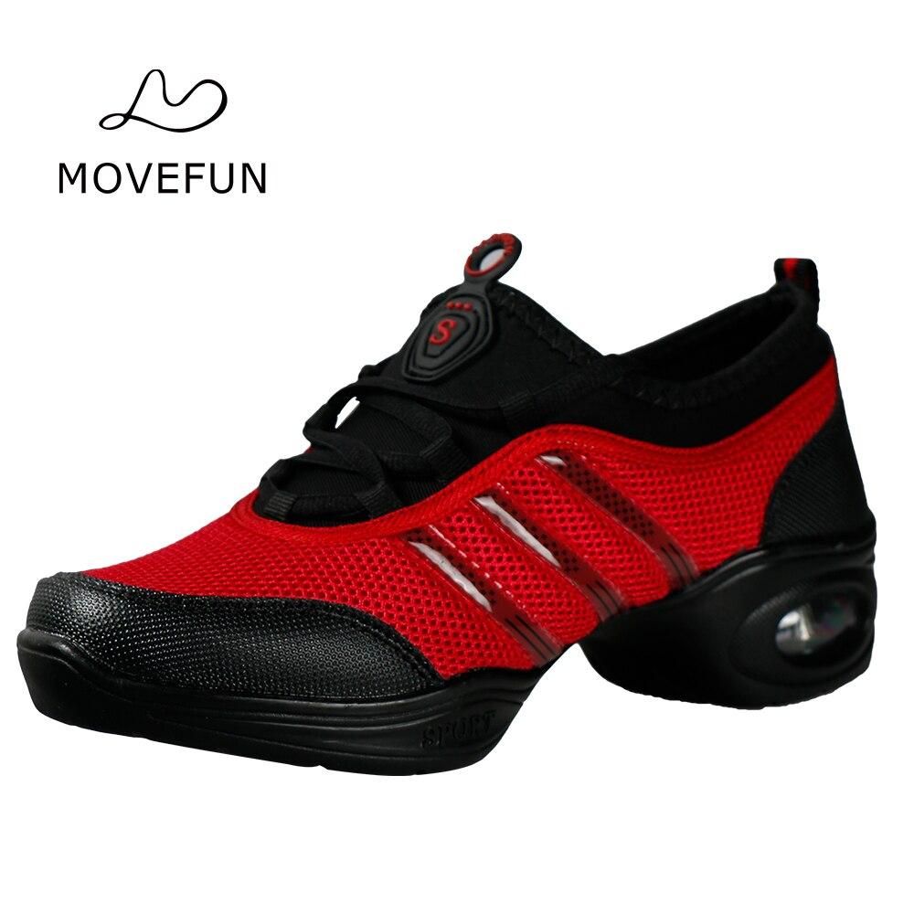 Movefun moderno baile Fitness Jazz zapatos mujeres plataforma respiración  característica suave suela zapatos de baile zapatillas b48bfd0477f