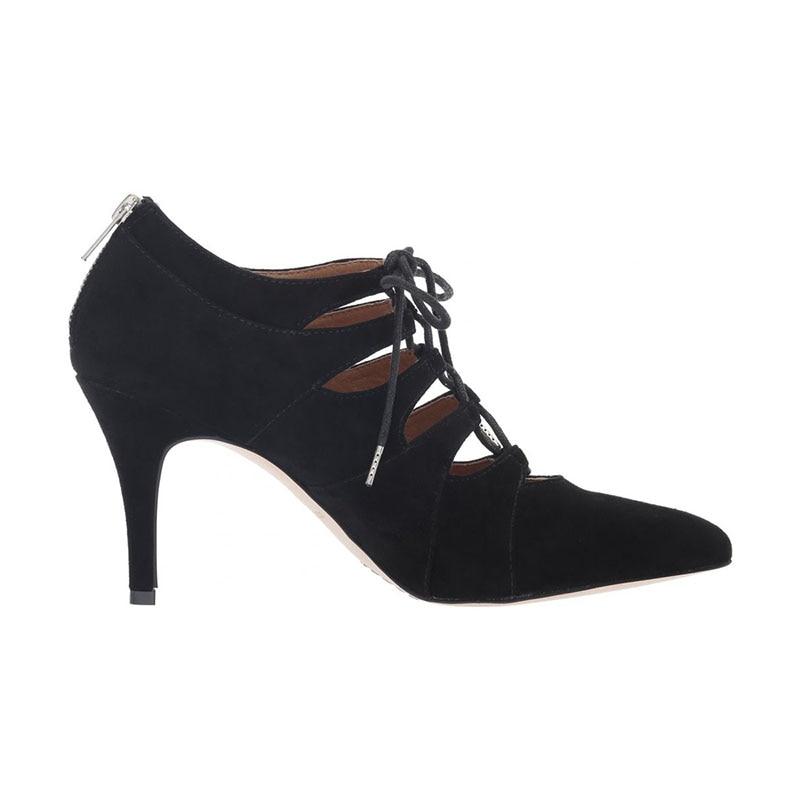 b6c85bc702e Chaussures Croix Dentelle La Cheville Pointu Carré Nancyjayjii Femme De Nouvelle  Luxe Liée Talons Noir ...