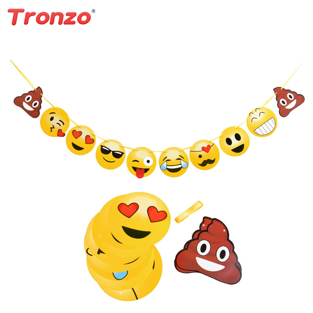 tronzo smile face emoji party banner expressions garland hand made