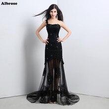 Фотография In Stock Sexy Black Lace Evenig Dress Crystals Evening Dresses Long One Shoulder Formal Dress Party Gown Chic vestido de festa