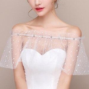 Image 4 - JaneVini blanco estrellas verano boda envoltura Mariage con cuentas hombros caídos chicas Bolero Zunt corto nupcial Cape Lae Up chaqueta de las mujeres